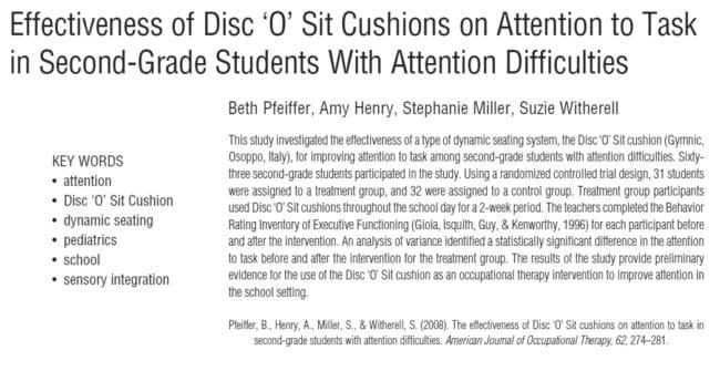 questo studio dimostra l'efficacia del disco sit per migliorare l'attenzione a scuola