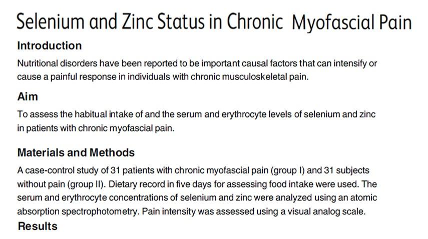 alimentazione e dolore miofasciale selenio zinco